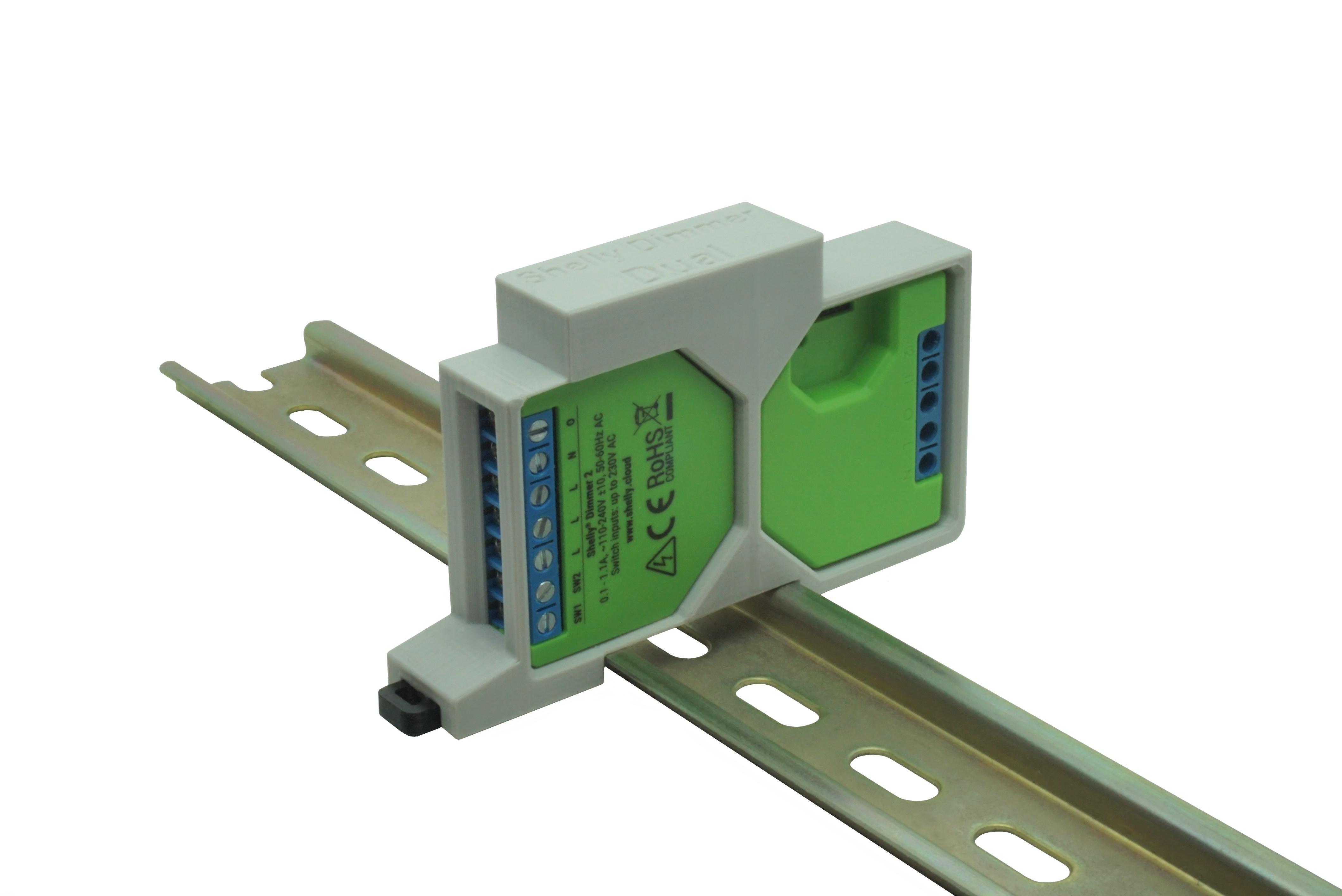 Hutschienenhalter / Adapter Dual für Shelly Dimmer / Dimmer 2, für DIN Schiene 35mm, Farbe: Grau