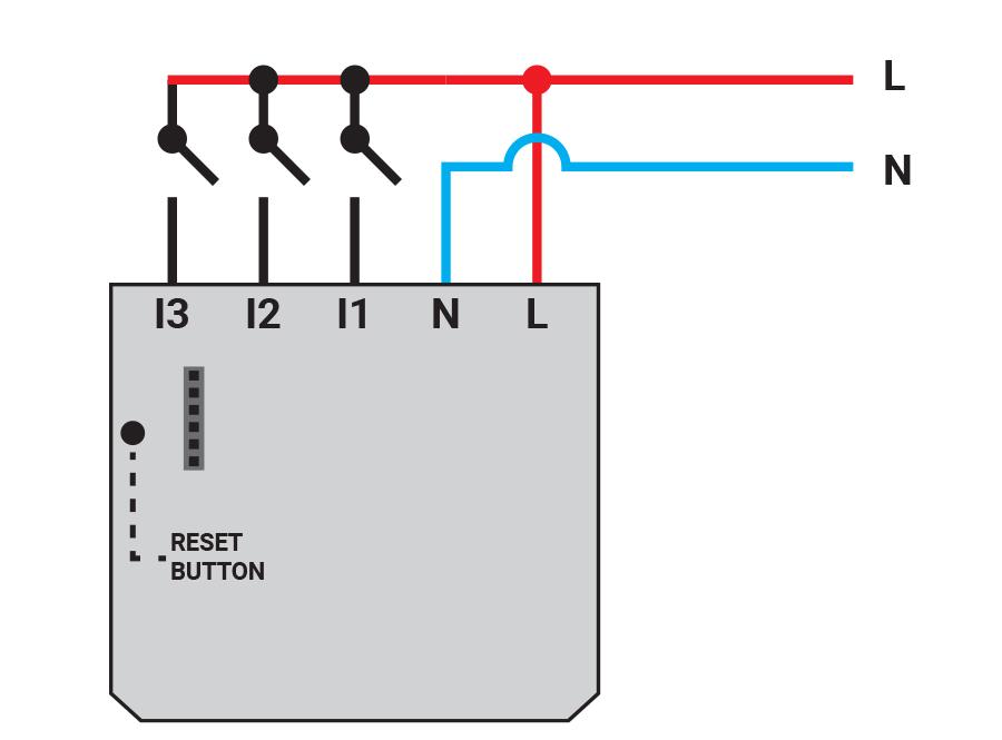 Shelly I3, WLAN Eingangsmodul / Tasterschnittstelle mit 3 Eingängen, AC: 110 - 230V, DC: 24 - 60V