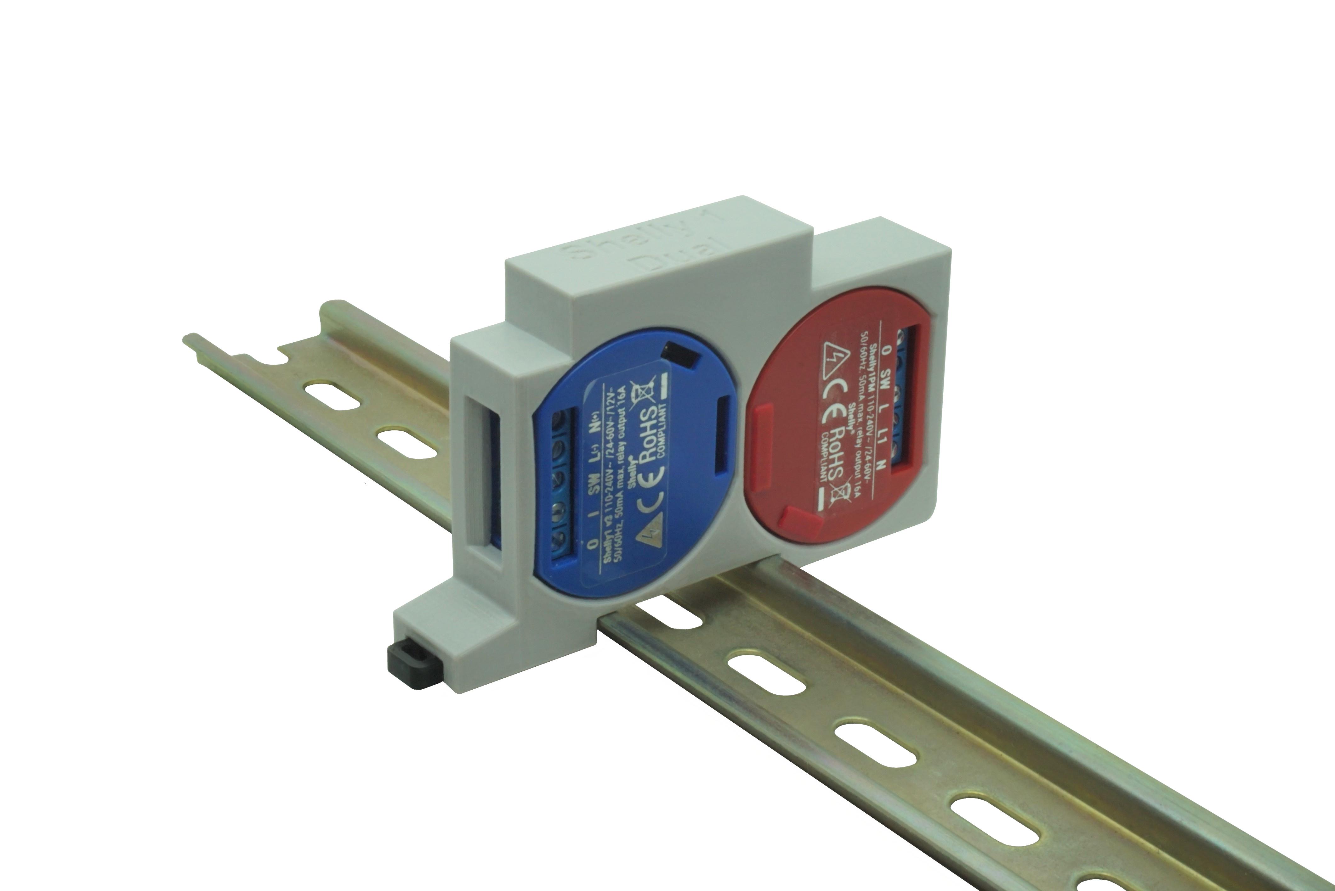 Hutschienenhalter / Adapter Dual für Shelly 1 / 1 PM, für DIN Schiene 35mm, Farbe: Grau