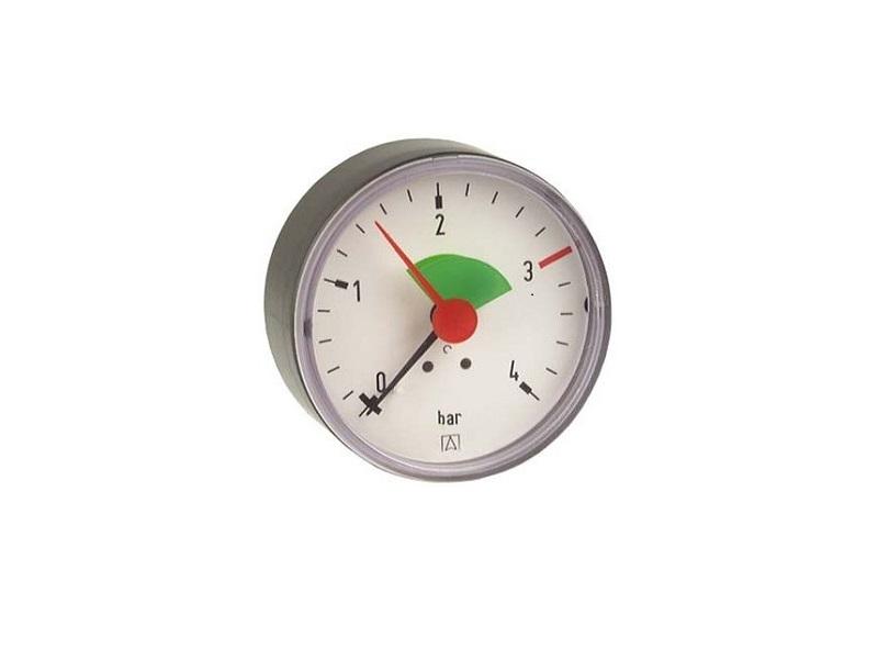 """Afriso Manometer axial 3/8"""" AG, Ø 63 mm, Anzeige 0 - 4 bar, mit roter Marke bei 3 bar und grünem Feld von 1,5 bis 3 bar, selbstdichtend"""