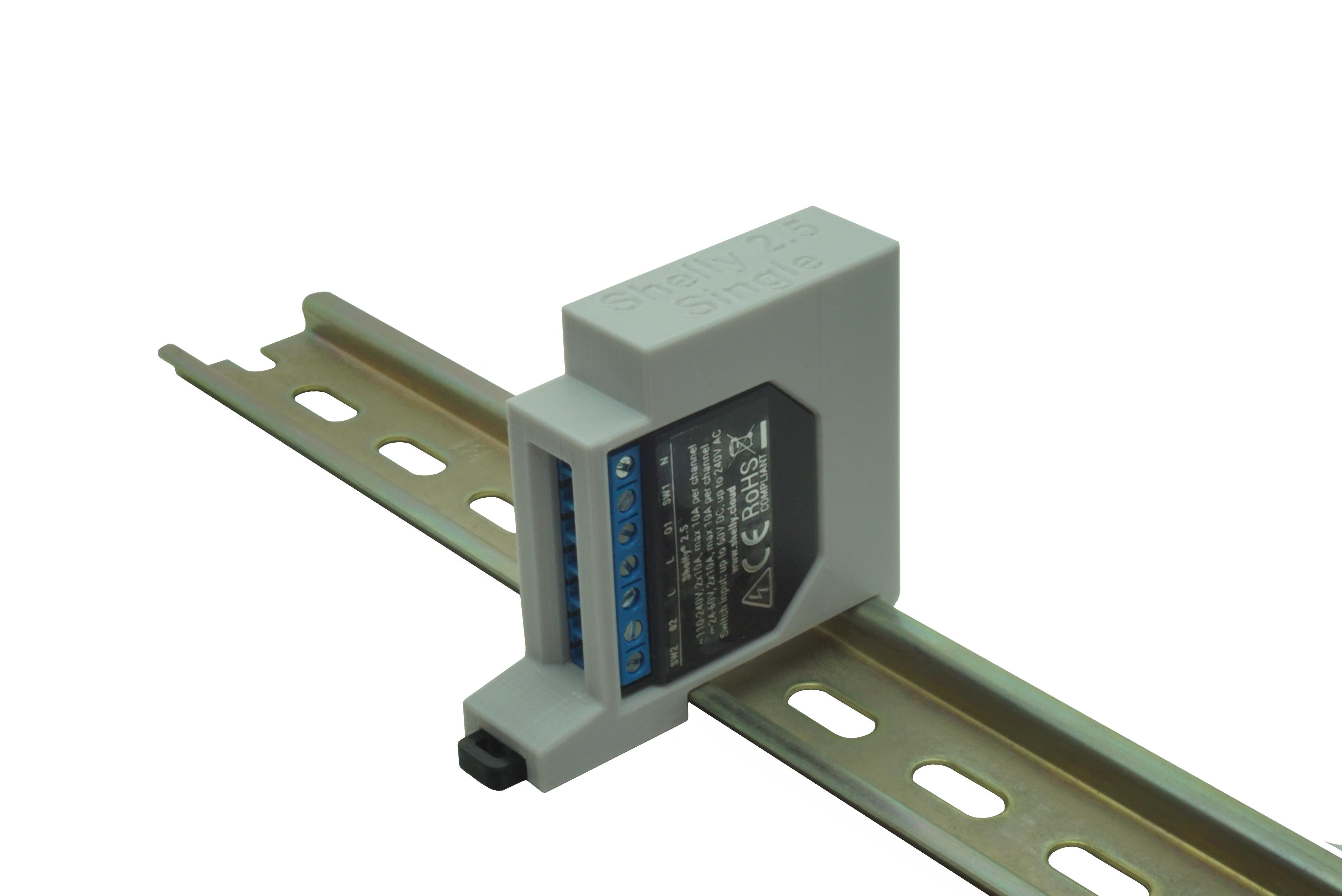 Hutschienenhalter / Adapter Single für Shelly 2.5 / EM, für DIN Schiene 35mm, Farbe: Grau