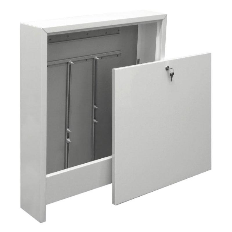 Aufputz - Verteilerschrank - Farbe weiß - für 7 - 10 Heizkreise 110 mm tief