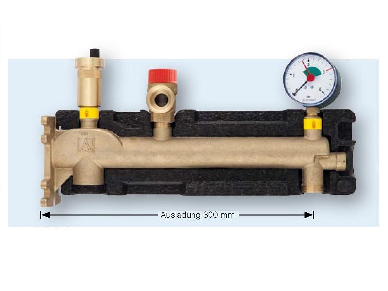 Afriso Gefäßanschlusskombination GAK, mit Sicherheitsventil, Schnellentlüfter und Manometer 3 bar für Ausdehnungsgefäße bis 50 Liter