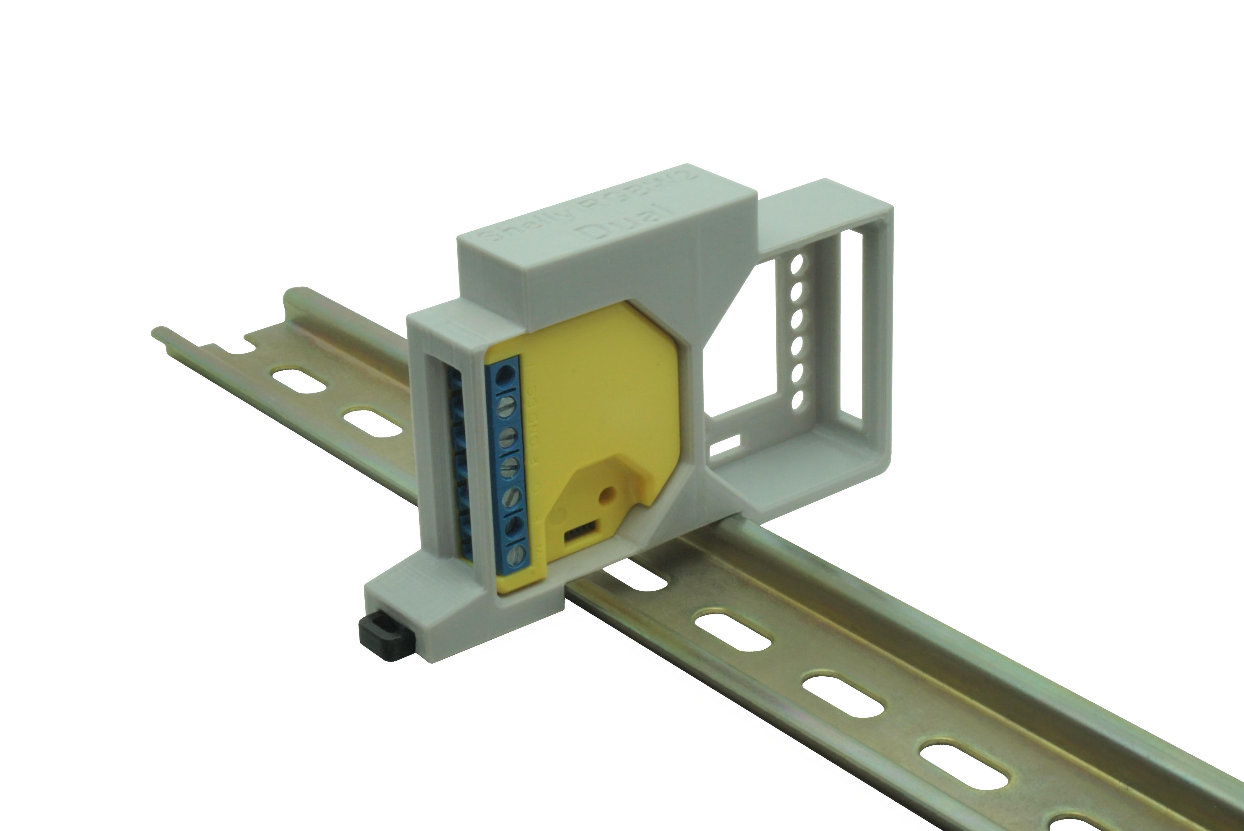 Hutschienenhalter / Adapter Dual für Shelly RGBW 2, für DIN Schiene 35mm, Farbe: Grau