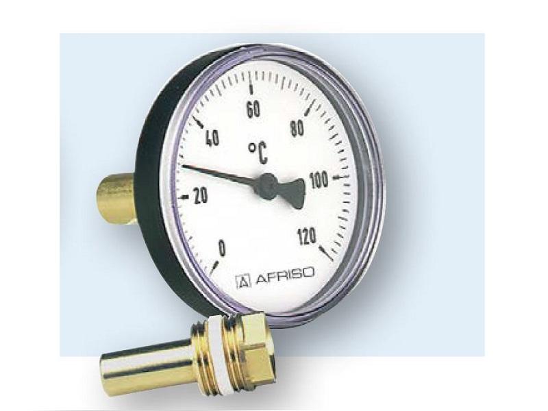 "Afriso Bimetall Thermometer 1/2"", 0 - 60 °C, Ø 80 mm"