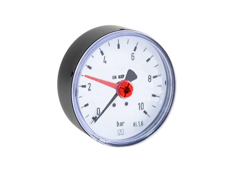 """Afriso Manometer axial 1/4"""" AG, Ø 63 mm, Anzeige 0 - 10 bar, selbstdichtend"""