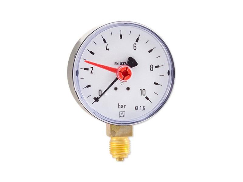 "Afriso Manometer radial 1/4"" AG, Ø 63 mm, Anzeige 0 - 10 bar, selbstdichtend"
