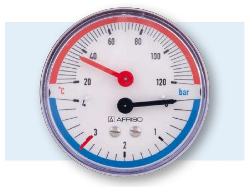 """Afriso Thermo-Manometer axial, 1/2""""AG, 20-120°C, Ø80mm, mit Ventil, 0-6 bar"""