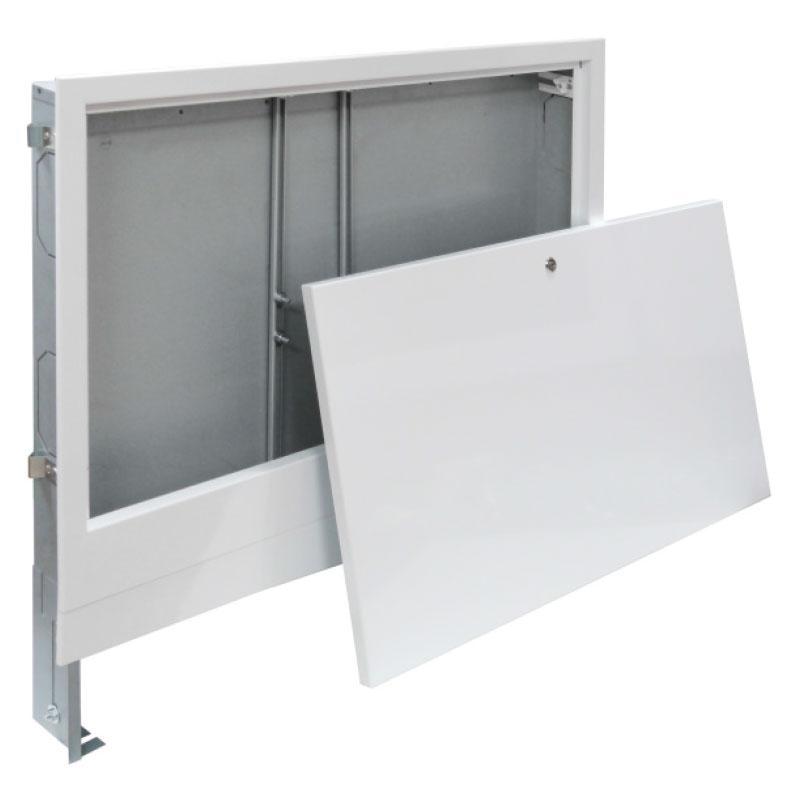 Unterputz - Verteilerschrank - Farbe weiß - für 11 - 13 Heizkreise 80 mm tief