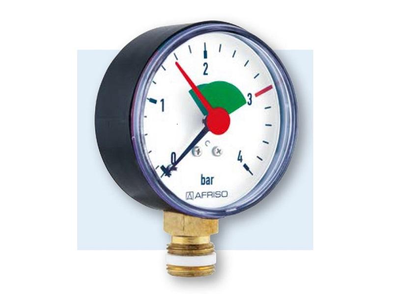 """Afriso Manometer radial 3/8"""" AG, Ø 63 mm, Anzeige 0 - 4 bar, mit roter Marke bei 3 bar und grünem Feld von 1,5 bis 3 bar, selbstdichtend"""