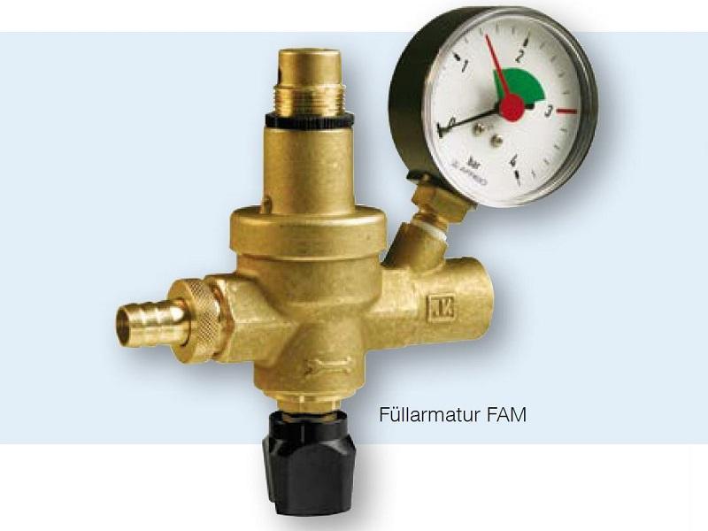 Afriso Befüllarmatur FAM für geschlossene Heizungsanlagen mit integriertem Druckminderer, Absperrventil, Rückflussverhinderer und Manometer