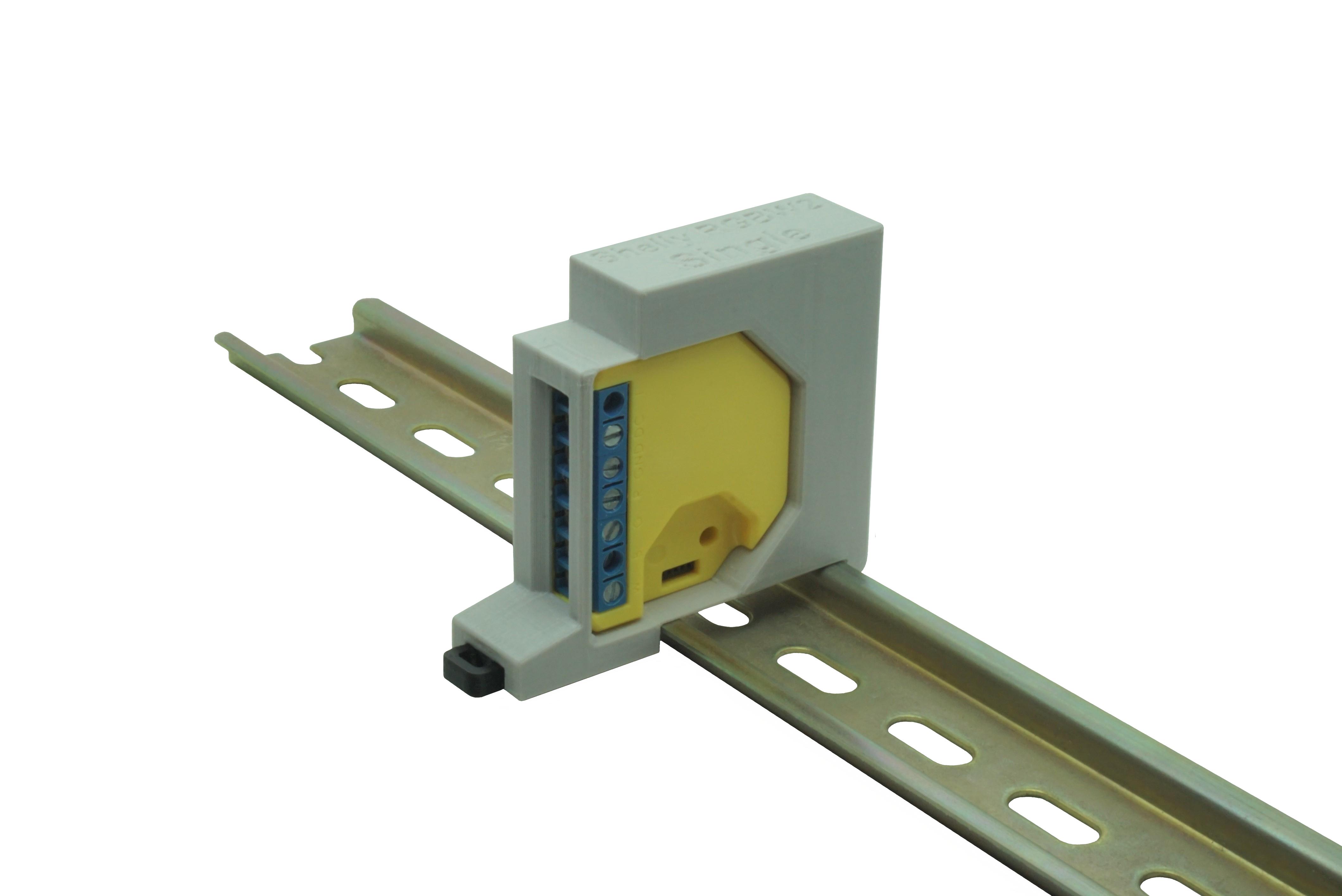 Hutschienenhalter / Adapter Single für Shelly RGBW 2, für DIN Schiene 35mm, Farbe: Grau