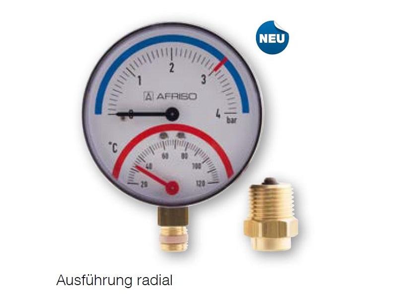 "Afriso Thermo-Manometer radial, 1/2""AG, 20-120°C, Ø80mm, mit Ventil, 0-4 bar"