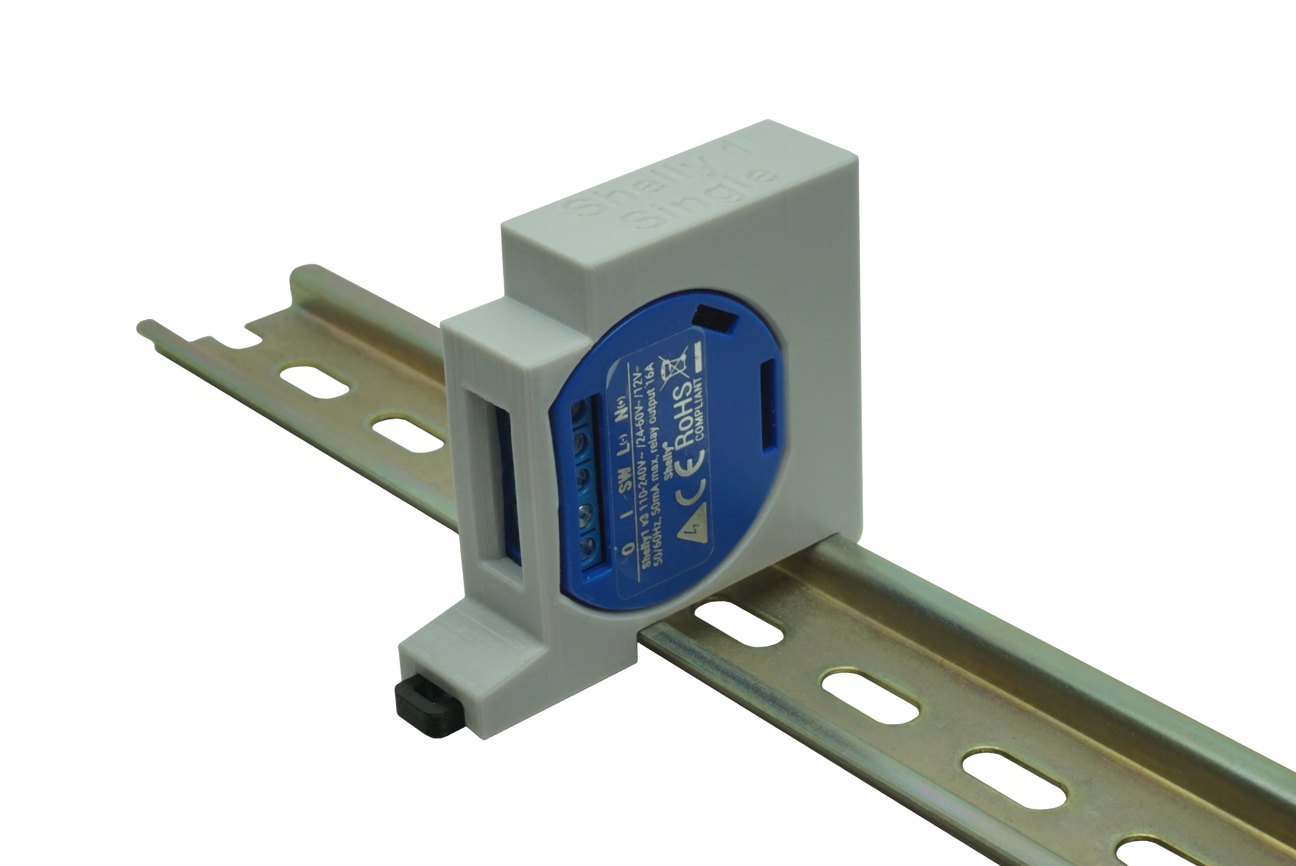 Hutschienenhalter / Adapter Single für Shelly 1 / 1 PM, für DIN Schiene 35mm, Farbe: Grau