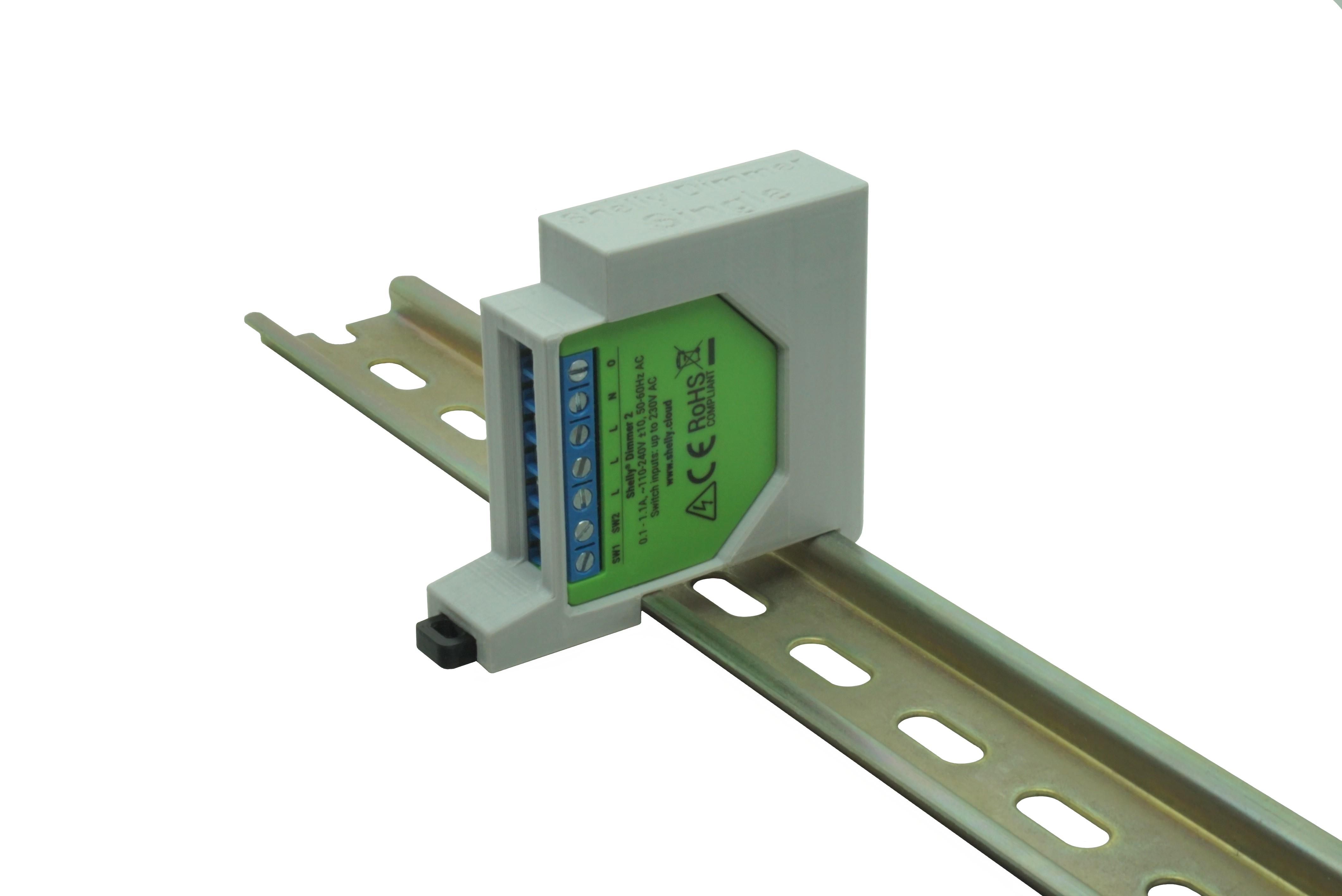 Hutschienenhalter / Adapter Single für Shelly Dimmer / Dimmer 2, für DIN Schiene 35mm, Farbe: Grau